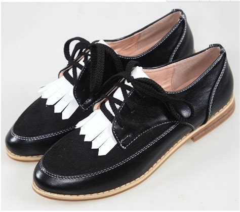 womens black oxford shoes 2015 retro fringed spell color lace up bullock