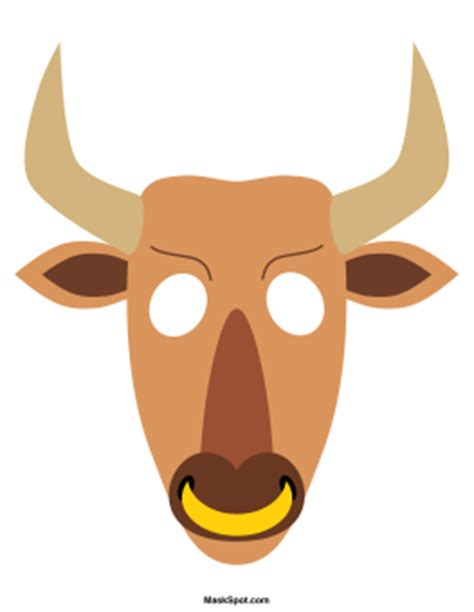 bull mask template free printables at museprintables