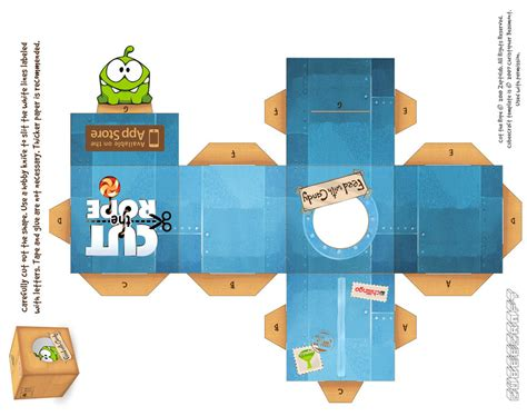 Cut The Rope Papercraft - om nom cosmic box by viperfan14 on deviantart