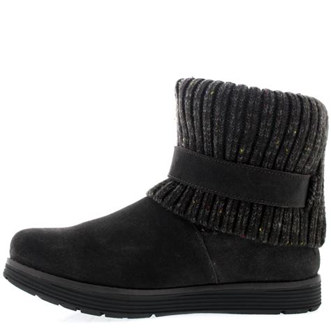 womens skechers adorbs mid calf winter warm suede knitted