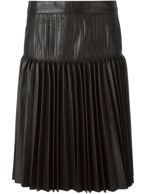 black leather pleated skirt givenchy pleated leather skirt in black lyst