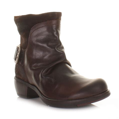 womens fly mel brown leather western ankle