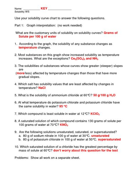 Solubility Graph Worksheet Answer Key by 14 Best Images Of Chemistry Solubility Worksheet Theory
