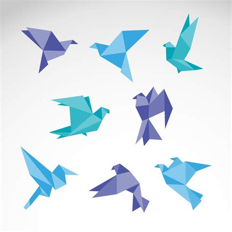 Paper Birds - color origami dove vector free vector graphic