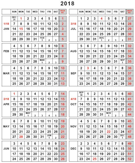 Calendar 2018 With Week Numbers Pdf 2018 Calendar With Week Numbers Printable Carbon