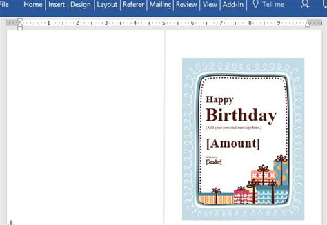 power card template birthday gift certificate card template for word
