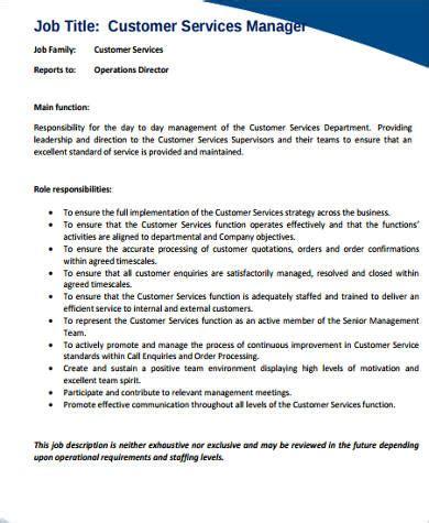 customer service help desk job description service manager job description sle 11 exles in