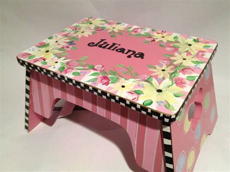 childrens painted step stools buy a made childs step stool custom painted made to
