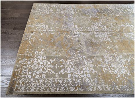 designer rugs in uk designer reserve gold knotted wool silk rug 19072