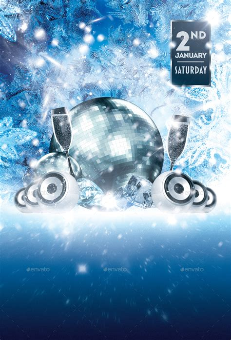 Let It Snow Winter Party Flyer Template By Designroom1229 Graphicriver Snowy Flyer Template