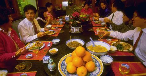 new year traditional family dinner family celebrates with new years dinner