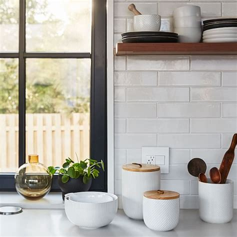 textured kitchen canisters kitchen storage solutions west elm