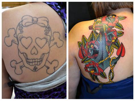 tattoo cover up with another tattoo cobertura com 226 ncora e rosas projeto ivy colorida