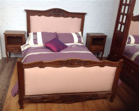 marriage bed forum oak french upholstered carved marriage bed and bedsides