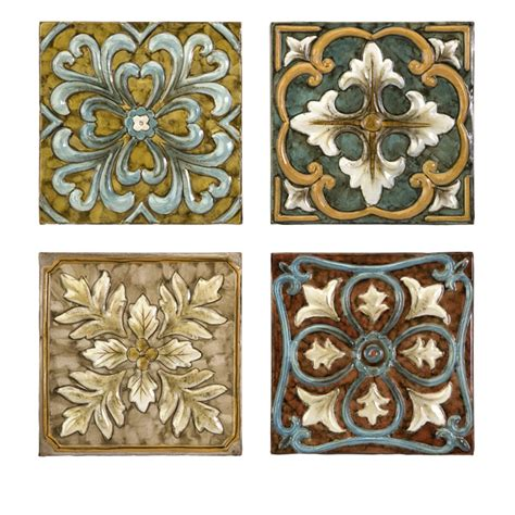 Set 4 Italian Inspired Decorative Medallion Wall Tiles Ebay Wall Decor Tiles