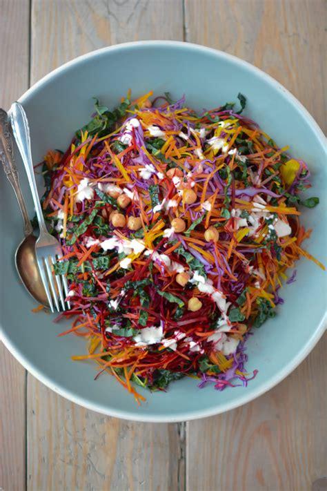 Greek Main Dishes - shredded rainbow salad with greek yogurt caesar dressing