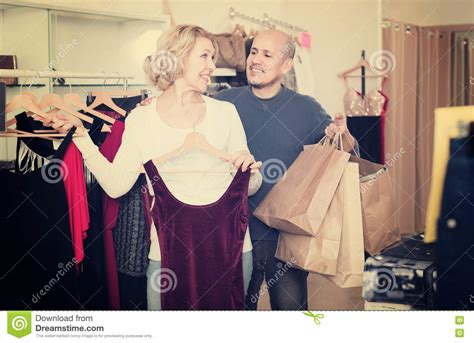 Couples Clothing Store Happy Choosing New Fancy Dress Stock Image Image