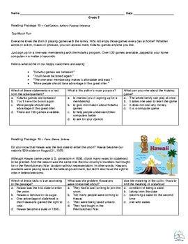 grade reading fluency  comprehension passages