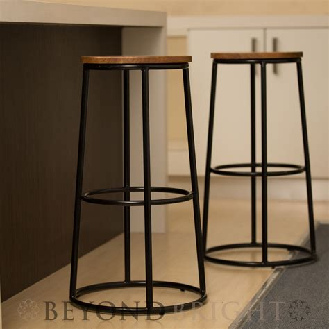 2 Foot Bar Stools by 2x Metal Bar Stool Ring Chair 74cm Stools Black Industrial
