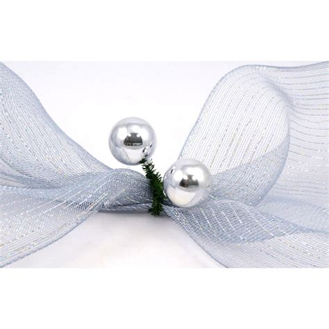 6 quot green tinsel ties w 50mm balls silver set of 12