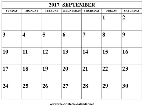 september calendar monthly printable calendar