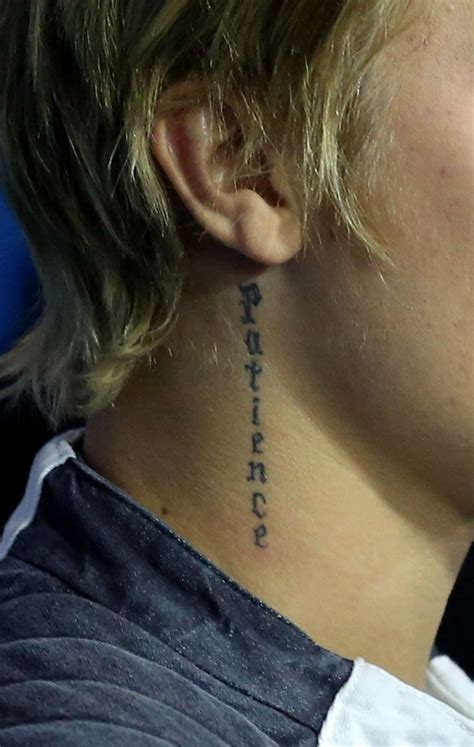justin bieber patience tattoo meaning best 25 justin bieber neck tattoo ideas on pinterest