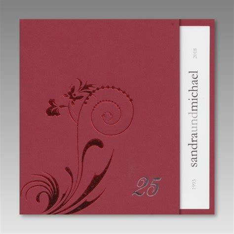 Einladungskarten Silberhochzeit by Schicke Rote Einladungskarte Zur Silberhochzeit
