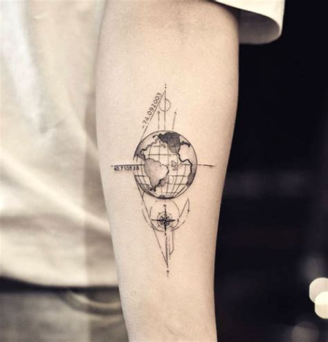 globe tattoo globe on