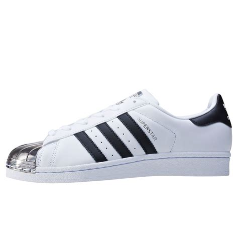 Adidas Superstar Metal adidas superstar metal toe womens trainers in white silver blue