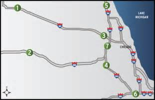 Chicago Tolls Map by Locations Illinois Tollway Oases