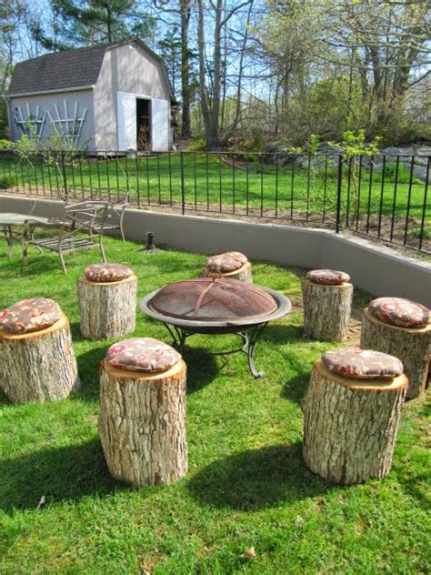 tree stump seats sew many ways turn tree stumps into pit seating