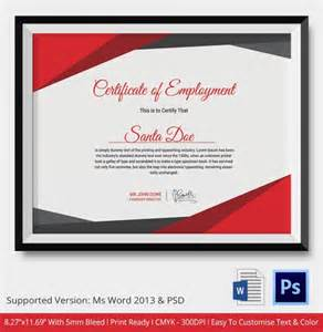 Sle Of Employment Certificate Template by Employment Certificate 36 Free Word Pdf Documents