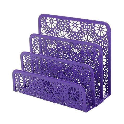 Purple Desk Organizers Crystallove Set Of 3 Purple Metal Mesh Desktop Supplies Organizer Office Filing Organization