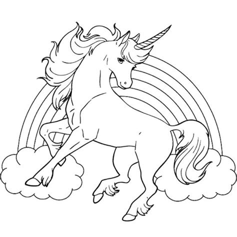 coloring pages of rainbows and unicorns unicorn horse with rainbow coloring page for kids