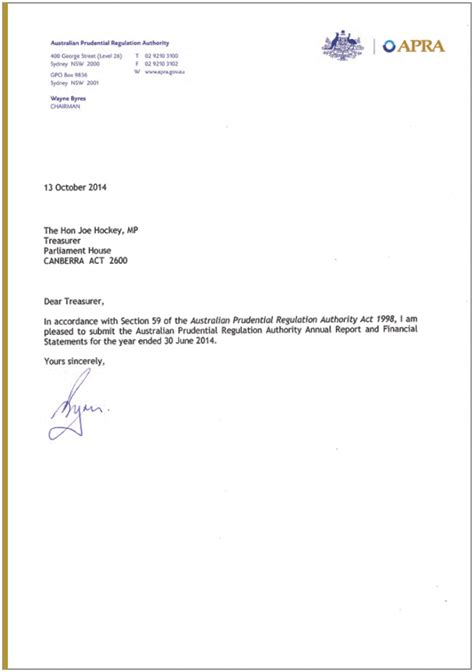 Annual Leave Payment Request Letter Joe Hockey Letter