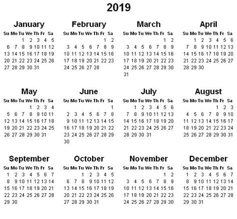 Calendar 2019 Printable With Holidays Yearly Calendar 2019 2018 Calendar With Holidays