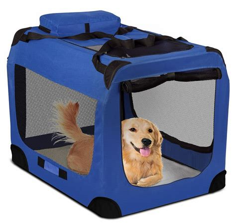 soft sided dog house dog crate soft sided pet carrier foldable training kennel cage house blue