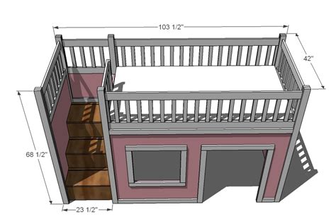 Bunk Bed Plans With Stairs Blueprints For Loft Bed With Stairs Woodworking Projects