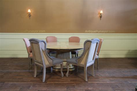 round table wing deconstructed dining chair with a burlap back