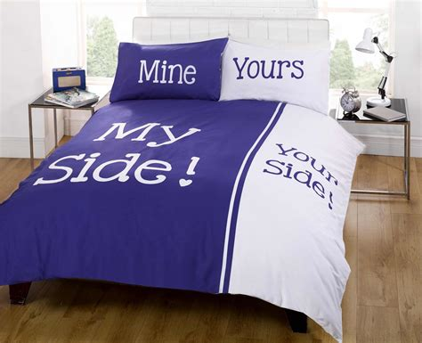 his and her bedding rapport panel print navy blue my side your side couple
