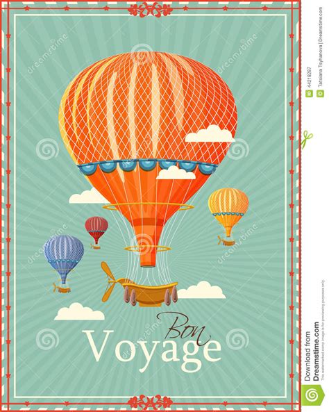 air balloon card template vintage air balloon in the sky vector stock vector