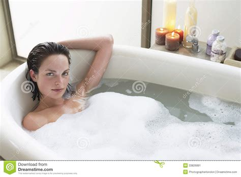 Foam Soap For Bathtub Woman Relaxing In Bathtub Stock Image Image 33826891