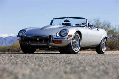 1974 jaguar xke silver convertible 12 cylinder 5 3l
