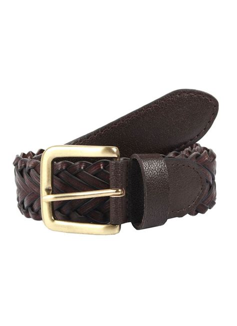 s plaited leather belt