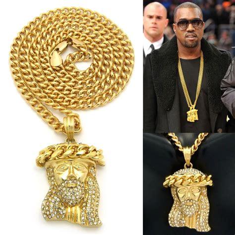 mens iced out hip hop gold jesus pendant w 24 quot cuban