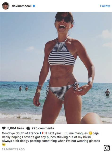 thong swimwear pubic hair showing davina mccall exposes underboob in eye popping bikini pic