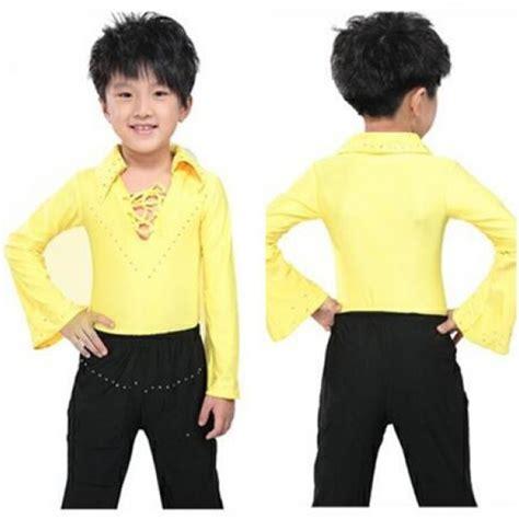 White Black Collar Set Toppants yellow white black v neck rhinestones sleeves turn collar boys child children