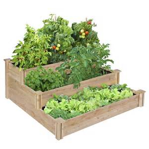 tiered raised garden bed cedar wood planter flower box
