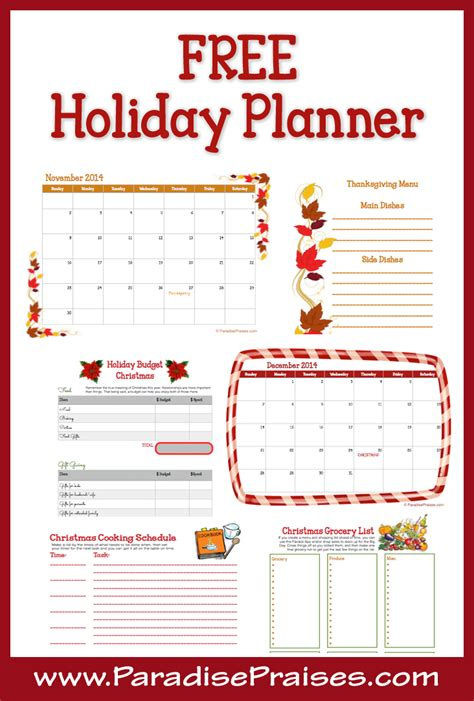 printable holiday planner 7 best images of free printable christmas planner pages