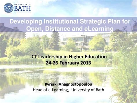 Mba In Strategic Planning Distance Learning by Developing Institutional Strategic Plan For Open Distance